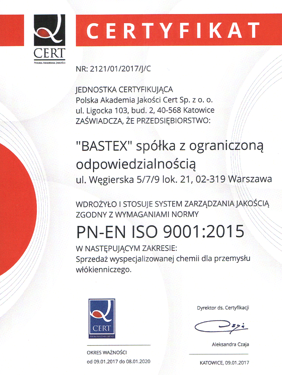 Certyfikat ISO 9001 - Bastex Sp. z o.o.